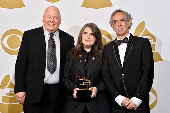Mastering engineer Bob Ludwig,  Producer Teri Landi  and Steve Rosenthal, winners of the Best Historical Album