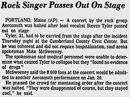Steven Tyler Passes Out Article