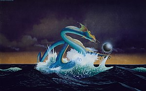 Asia - debut album cover, artwork by Roger Dean; March 1982. (Courtesy of Geffen Records)