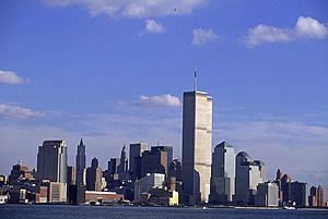 Manhattan skyline, Aug. 1997. (Credit:  Al Bello/Allsport/Getty Images)